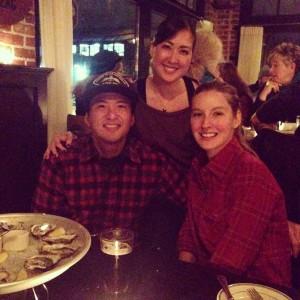 Enjoying a variety of oysters at The Woodsman Tavern