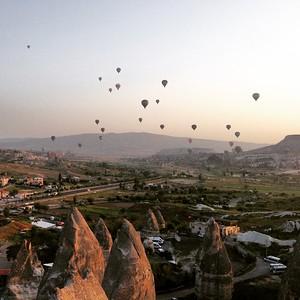 Hot Air Balloons at Dawn - Sunset Point - Goreme, Cappadocia, Turkey