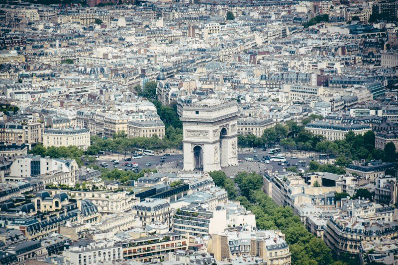 View of Arc de Triomphe from Eiffel Tower