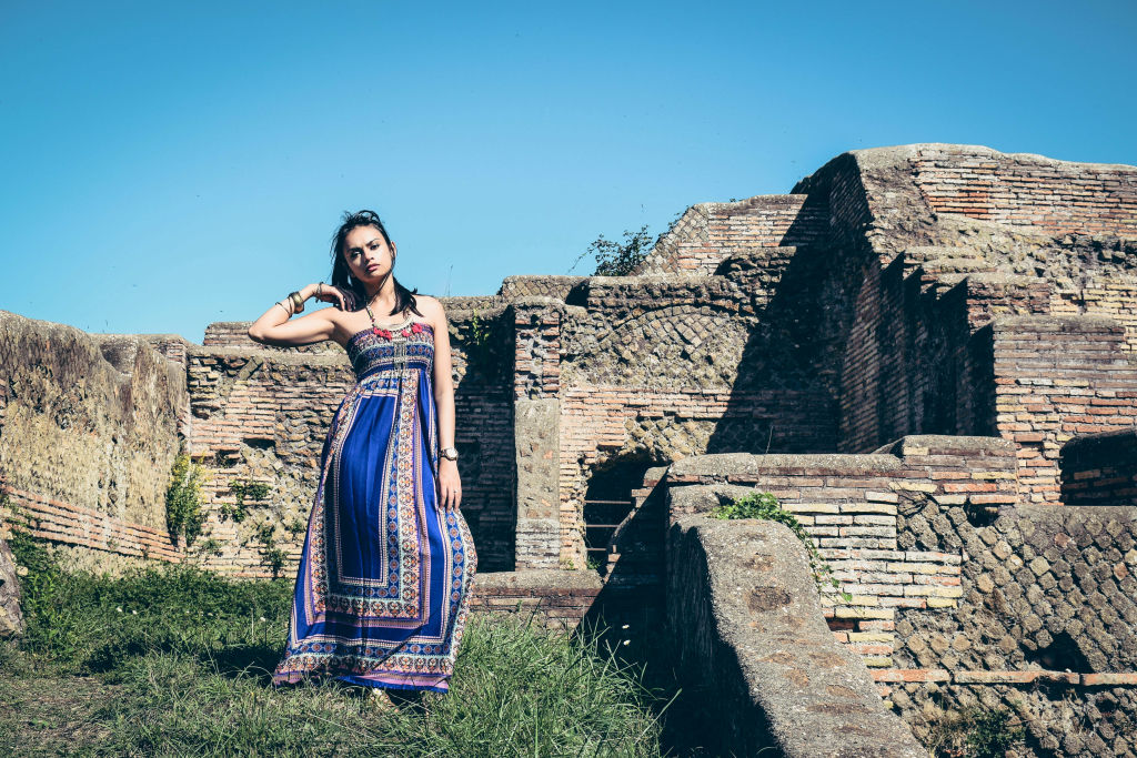 Purple bohemian maxi dress ostia Antica