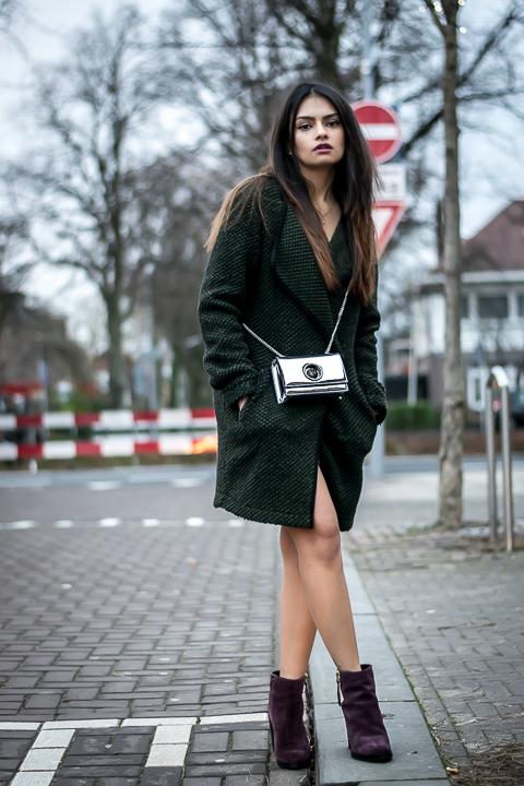 green vest versace bag fuscia boots winter look shrads.com
