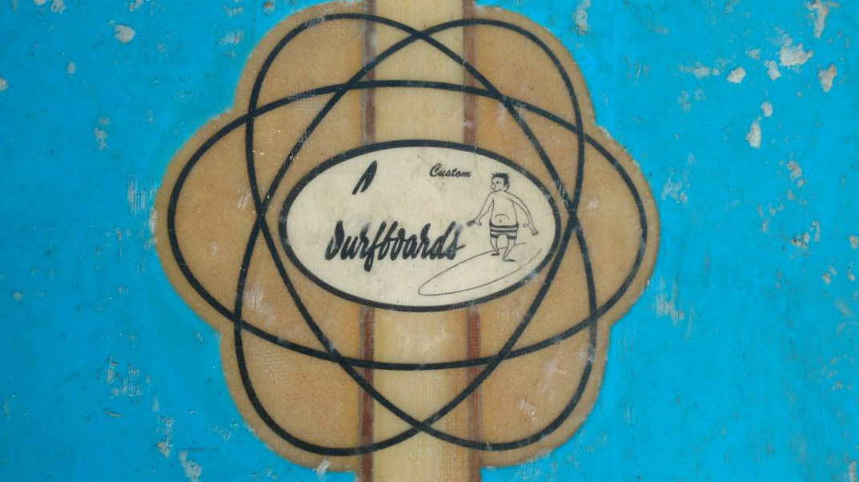 "Unusual ""double atom"" logo for Greg Noll surfboards"