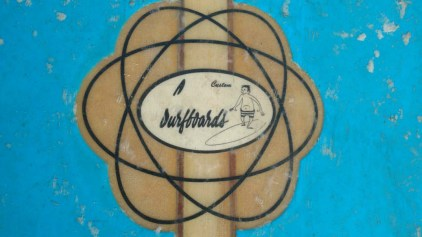 "Unusual ""double atom"" logo for Greg Noll surfboards"
