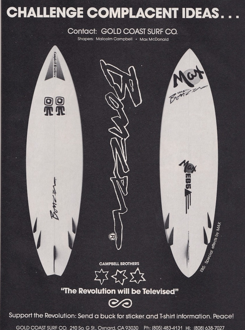 1989 Campbell Brothers Surfboards Ad: Sagas of Shred