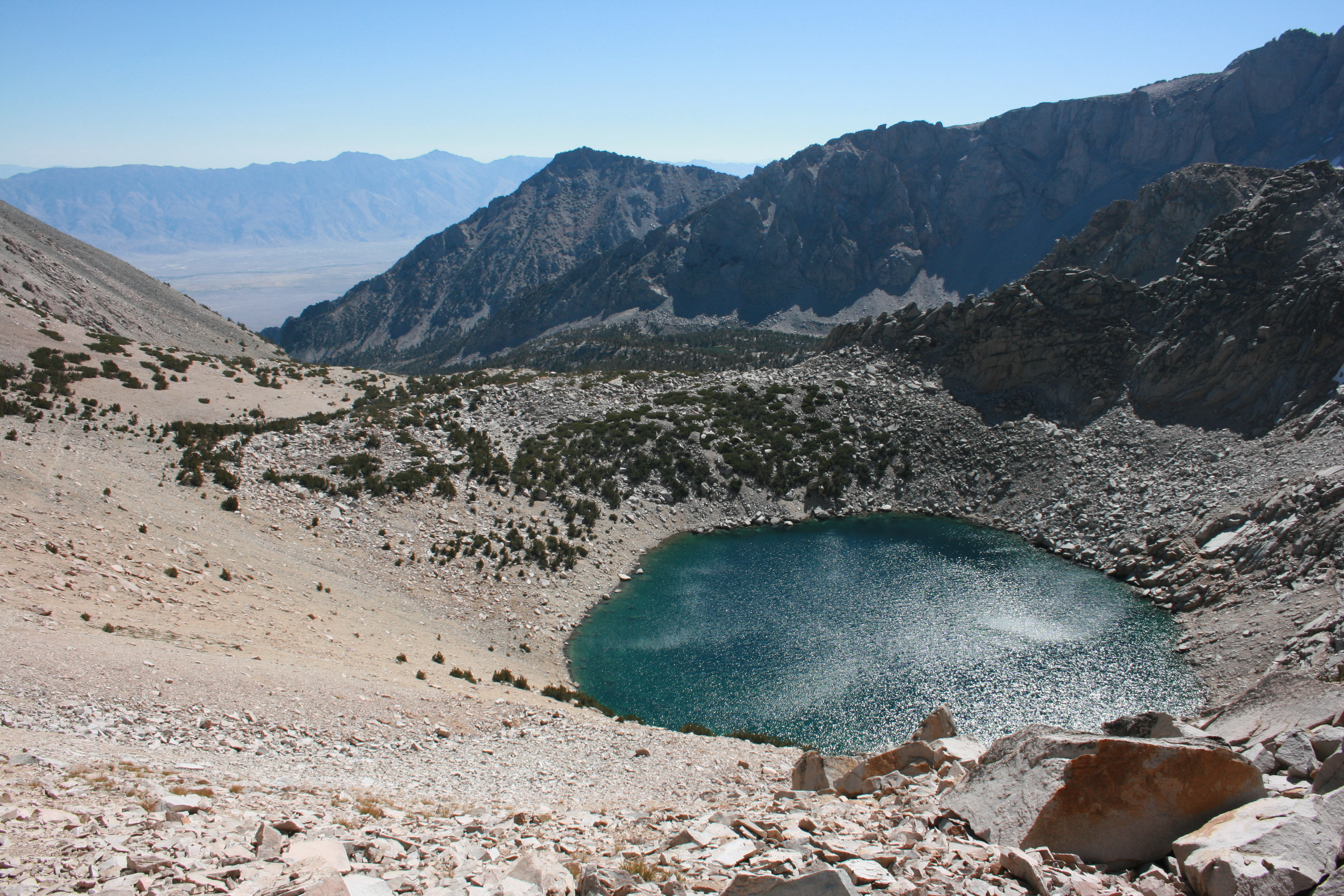 Big Pothole Lake and Onion Valley from Kearsarge Pass