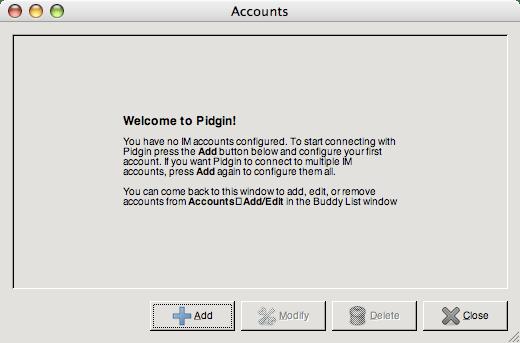 Pidgin welcome dialog