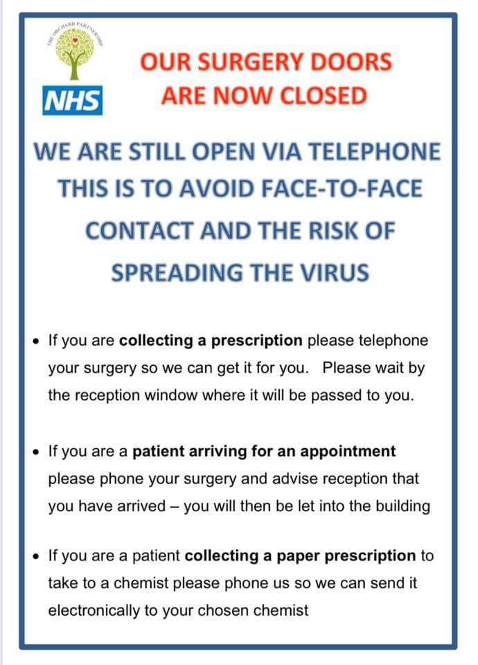 notice about surgery being closed but still open by telephone