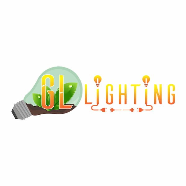 GL Lighting Logo. Lightbulb and writing in orange to yellow ombre
