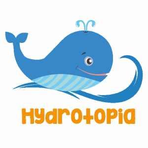 Hydrotopia Logo. Blue whale Hydrotopia writing in yellow