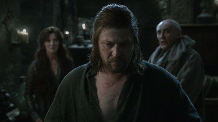 Sean Bean open shirt scars Eddard Stark Game of Thrones screencaps images pictures