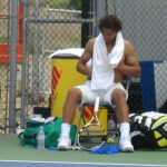Rafael Nadal shirt change Cincinnati Western and Southern Open Sunday practice shirtless fluffy hair towel arms