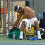 Rafael Nadal shirt change Cincinnati Western and Southern Open Sunday practice shirtless naked abs biceps calves legs