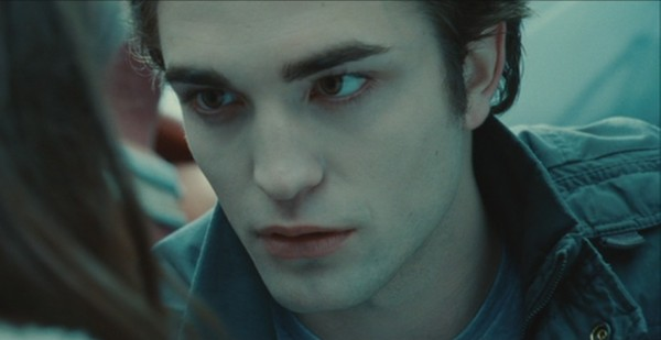 Twilight Edward Cullen Robert Pattinson stopping car protecting Bella close up truck screencaps images pictures photos screengrabs stills movie