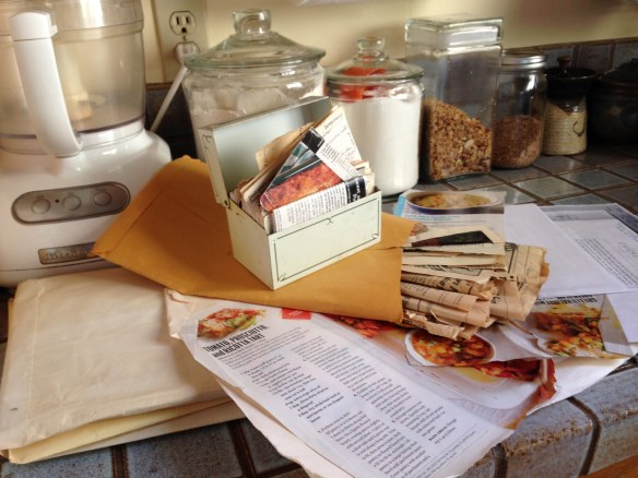 Recipes spilling out on counter