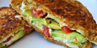 Guacamole Grill Cheese with Tomatoes
