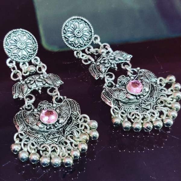 German Silver Stone fitted Jhumka
