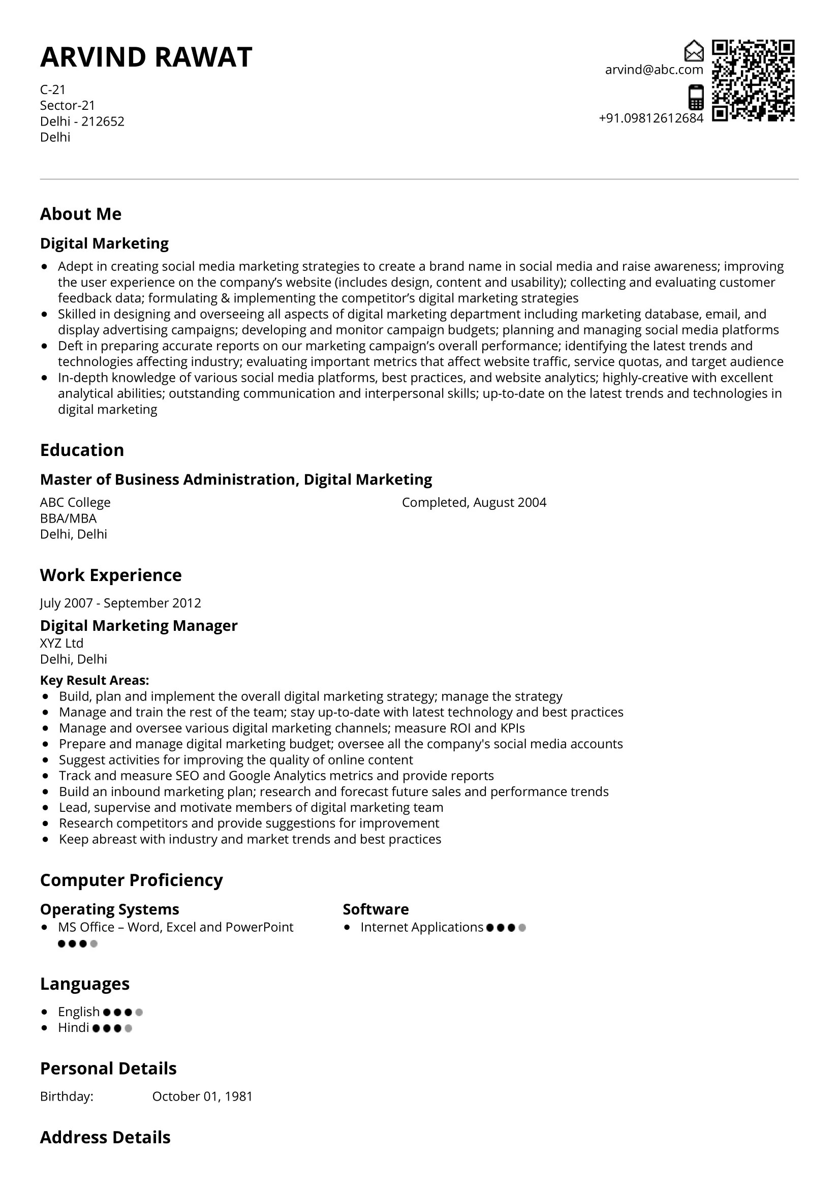 Nearly every company out there needs an effective digital marketing strategy. Digital Marketing Manager Resume Sample Ready To Use Example Shriresume