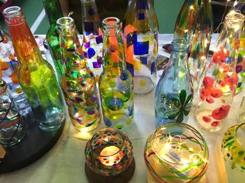 Colored glass bottle light.