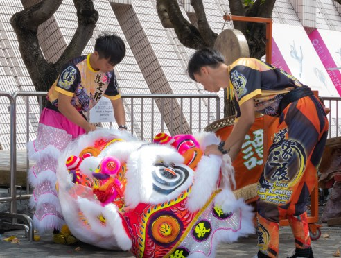 Two lion dancers preparing for the performance at noon