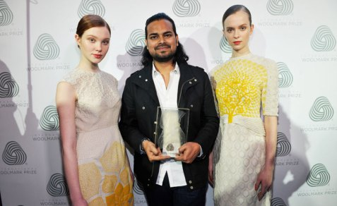Rahul Mishra with models wearing his collection