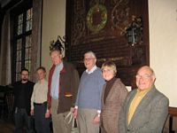 Left to right: Bob Churchill from the B.H.A. with leaders of five groups: Connor Birch, Bishops Castle Secularists, Allan Muir, Chester, John Cross, Manchester, Sue Willson, South Cheshire/North Staffs, Derek Woodvine, Shrops.