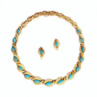A French Gold and Turquoise Necklace and Earring Suite