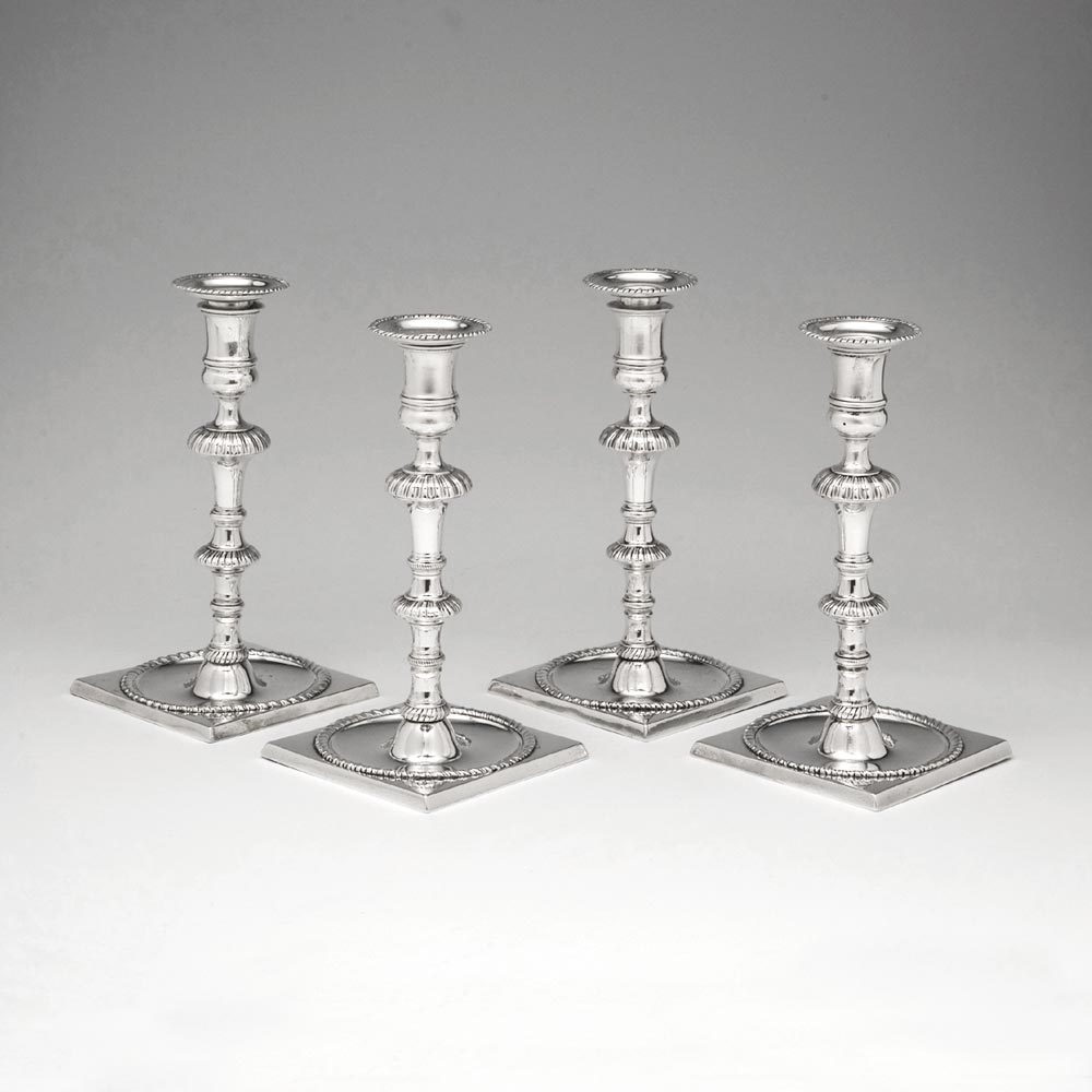 Pair Of George Ii Antique English Silver Candelabra