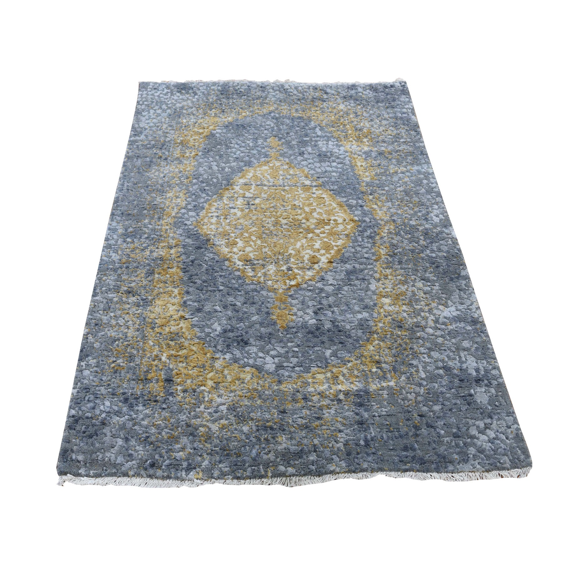 3 X5 Gray Gold Persian Design Wool And Pure Silk Hand Knotted Oriental Rug
