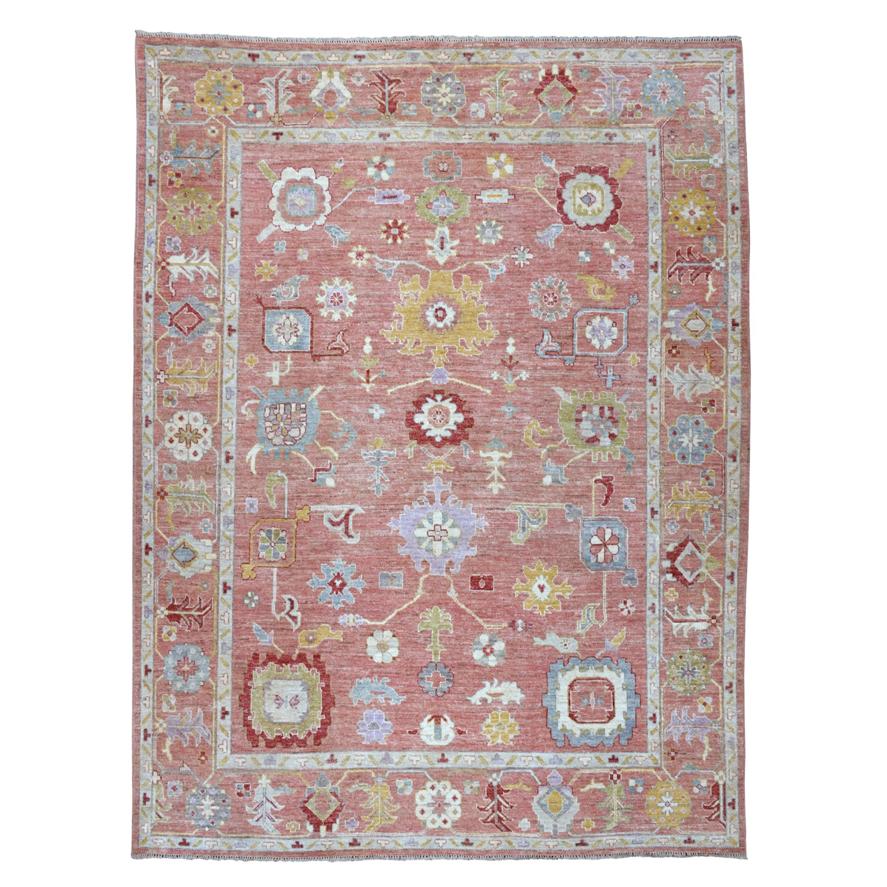 Details About 8 10 X11 Coral Angora Oushak Pure Wool Hand Knotted Oriental Rug G52491