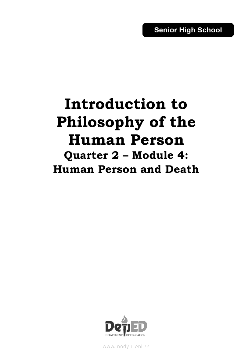 Introduction to Philosophy of the Human Person Quarter 2