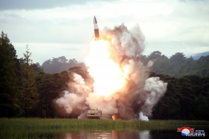 FILE - North Korea test-fires a weapon in this undated photo released Aug. 16, 2019, by the Korean Central News Agency.