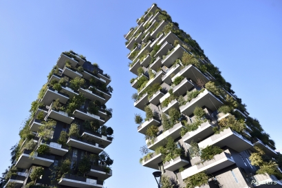 FILE - The Bosco Verticale (vertical forest) towers are seen in Milan, Italy, Aug. 29, 2015.