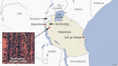 Map of Nyarugusu refugee camp Tanzania