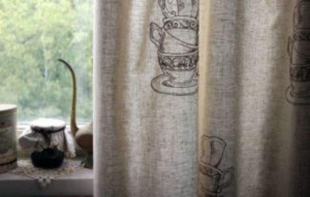 Льняные шторы с рисунком