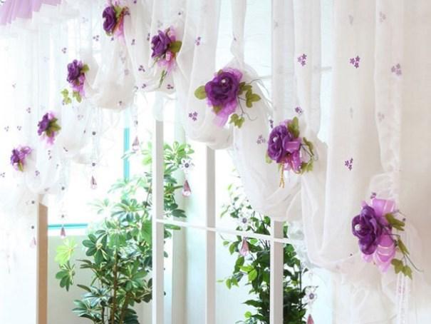 Шторы украшенные цветами