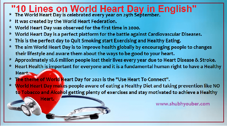 10 Lines on World Heart Day 2021 in English