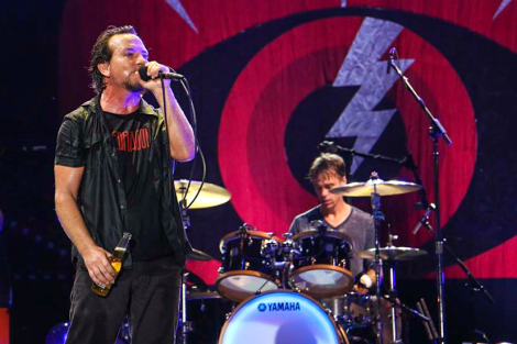 Lead singer, Eddie Vedder, and drummer, Matt Cameron of Pearl Jam perform during ACL 2014. Photo by: Josh Guerra.