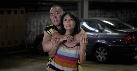 "Actor Yuji Okumoto and actress Tamlyn Tomita struggle in the web series ""Awesome Asian Bad Guys."" Image courtesy of caamfest.com."