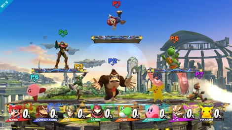 The crazy chaos that is 8-player smash. Courtesy of miiverse.nintendo.net.