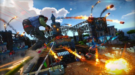 The player making their way through the carnage and chaos that is Sunset Overdrive. Courtesy of wired.com.