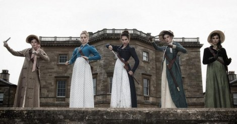 From left to right: Ellie Bamber as Lydia Bennet, Bella Heathcote as Jane Bennet, Lily James as Elizabeth Bennet, Millie Brady as Mary Bennet, and Suki Waterhouse as Kitty Bennet / Screen Gems