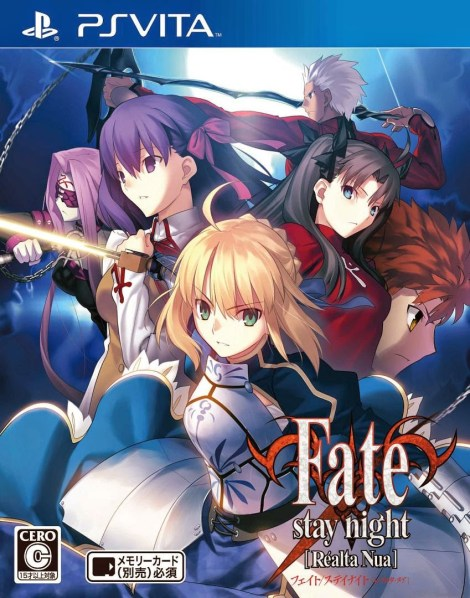 The official box art for Fate/Stay Night Realta Nua for the PS Vita. Type Moon and Kadokawa Games
