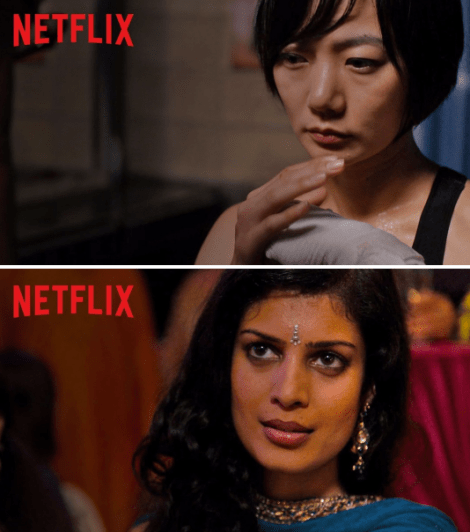 "Sun Bak and Kala from ""Sense8,"" played by Doona Bae and Tina Desai"