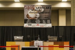 The stage of the Latte Art World Championship Open.
