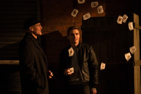 Merritt McKinney (Woody Harrelson, left) and Jack Wilder (Dave Franco, right) in NOW YOU SEE ME 2. Photo Credit: Jay Maidment