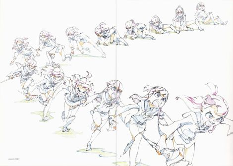 """A sample of key frames from Trigger's """"Little Witch Academia."""" Source: Drawn by Shuhei Handa. Scan from an artbook included with the Little Witch Academia Blu Rays."""