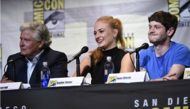 Actors Conleth Hill (Varys), Sophie Turner (Sansa Stark), and Iwan Rheon (Ramsay Bolton) / Photo courtesy of San Diego Comic Con via makinggameofthrones.com