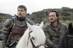 L-R, Jaime Lannister (Nikolaj Coster-Waldau), Bronn (Jerome Flynn) | Photo credit: Macall B. Polay/HBO