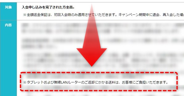 公式サイトに記載された、返送にかかわる送料についての内容
