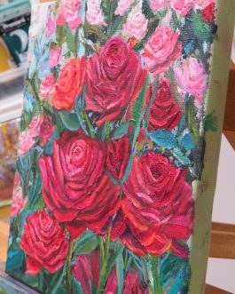 Crimson Glow- Rose Oil Painting